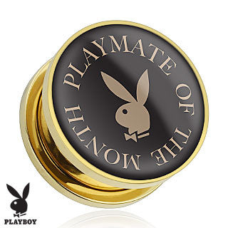 "14 kt Gold Plated Surgical Stainless Steel Screw Fit Plugs with ""Playmate of the Month"" Playboy Bunny Logo, Pair"