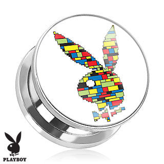 Surgical Stainless Steel Screw Fit Plugs with Multi-Color Block Print Playboy Bunny Logo, Pair