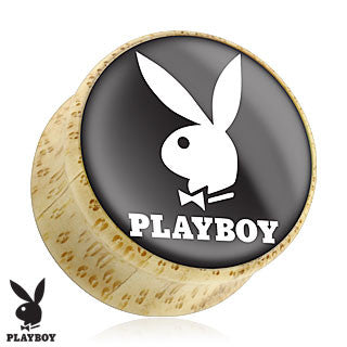 Bamboo Organic Wood Double Flare Plugs with White Playboy Bunny Logo, Pair