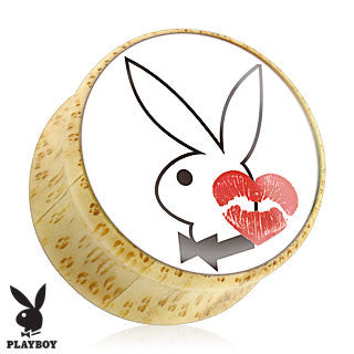 Bamboo Organic Wood Double Flare Plugs with Playboy Bunny Logo with Kiss Print, Pair