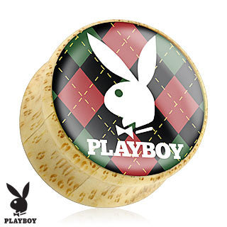 Bamboo Organic Wood Double Flare Plugs with White Playboy Bunny Logo on Green-and-Red Argyle, Pair