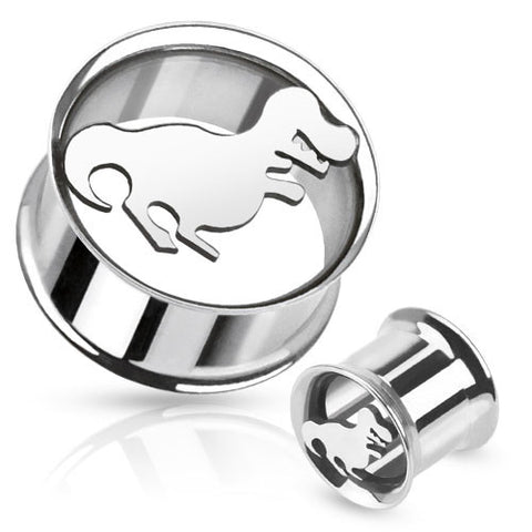 Surgical Stainless Steel Double Flare Flesh Tunnel Plugs with Dinosaur Cutout, Pair