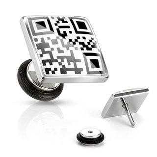 Cheater Plugs with QR Code, Fake Large Gauge Look (16g), Pair