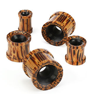 Organic Coco Wood and Buffalo Horn Flat Double Flared Flesh Tunnel Plug, Pair