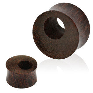 Organic Tamarind Wood Offset Eyelet Tunnel Double Flared Plugs, Pair