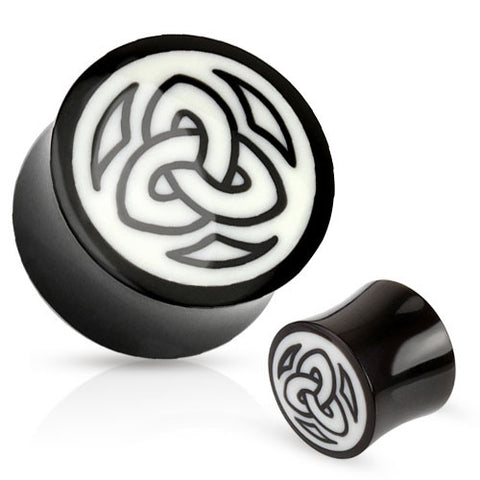 Organic Bone and Buffalo Horn Double Flared Plugs with Triangular Tribal Symbol Design, Pair