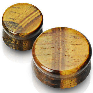 Natural Tiger's Eye Stone Double Flare Solid Plugs, Pair