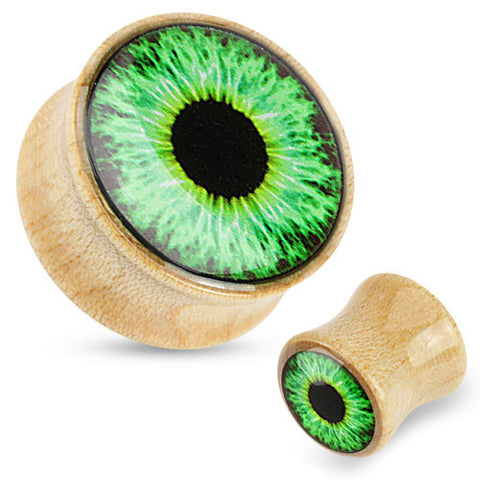 Organic Maple Wood Double Flared Plugs with Green Eye Design, Pair