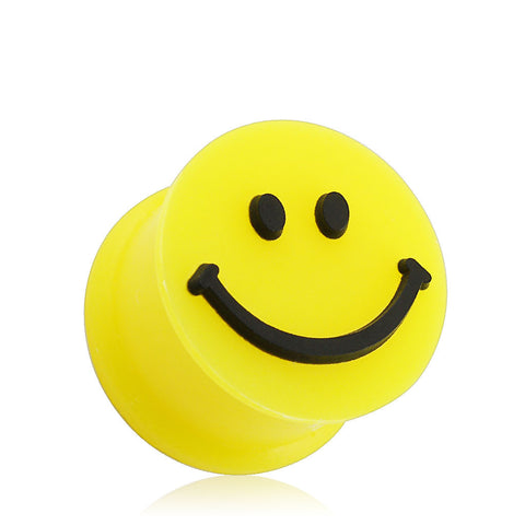 Flexible Silicone Smiley Face Double Flare Plugs, Pair