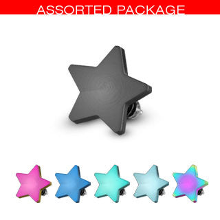 Titanium Plated over Surgical Stainless Steel Dermal Anchor Head Top Star
