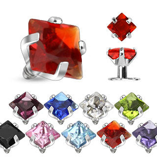 Surgical Stainless Steel Dermal Anchor Head Top with Prong Set Square CZ Gem