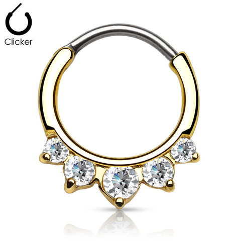 Gold Plated Surgical Stainless Steel Septum Clicker Ring with Five Point Round Paved Gems