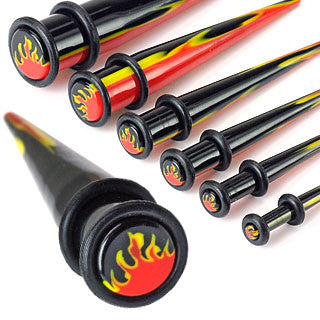 Acrylic Multi Colored Taper with Flame Inlay and O-ring