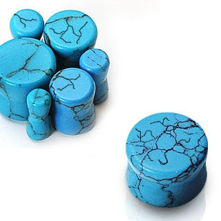 Natural Turquoise Stone Double Flare Solid Plugs, Pair