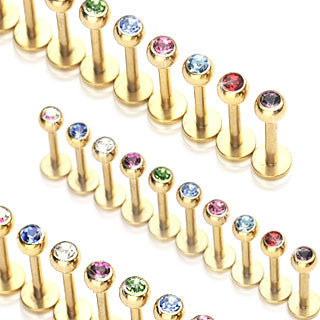 Gold Plated Surgical Stainless Steel Lip/Labret/Monroe Stud with Gem