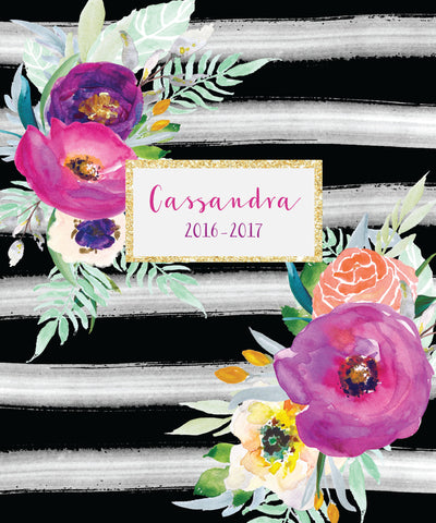 Handpainted Stripe & Floral Notebook