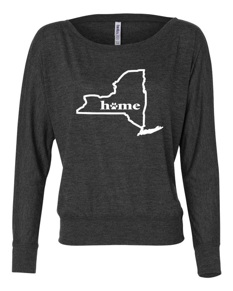 New York Home Women's Flowy Long Sleeve Off Shoulder Tee