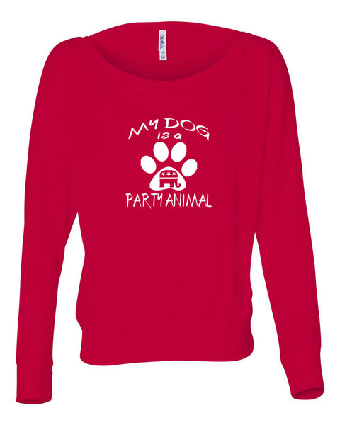 "Republican ""My Dog is a Party Animal"" Women's Flowy Long Sleeve Off Shoulder Tee"
