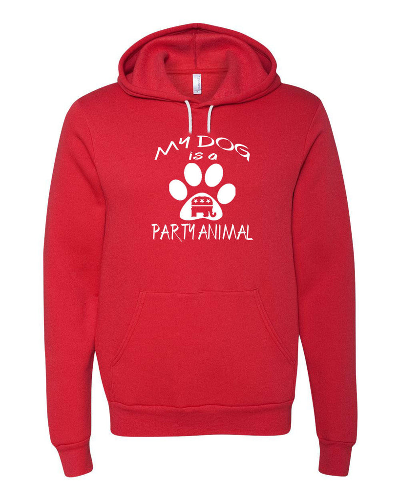 "Republican ""My Dog is a Party Animal"" Unisex Hooded Pullover Sweatshirt"
