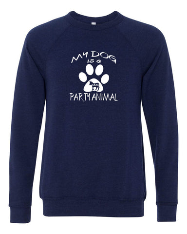 "Democratic ""My dog is a Party Animal"" Unisex Sponge Fleece Crewneck Sweatshirt"
