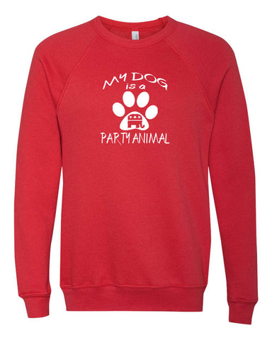 "Republican ""My dog is a Party Animal"" Unisex Sponge Fleece Crewneck Sweatshirt"