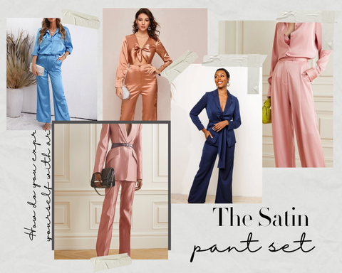satin pant sets for work