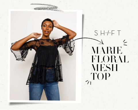 black floral mesh top shift stylehouse