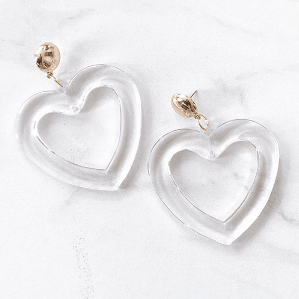 'Heart Throb' Resin Heart Earrings