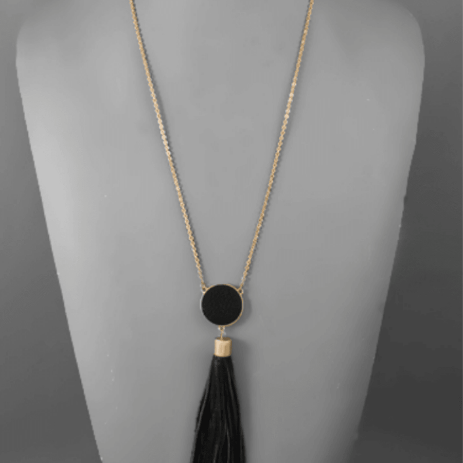 Leather Disc & Tassel Necklace