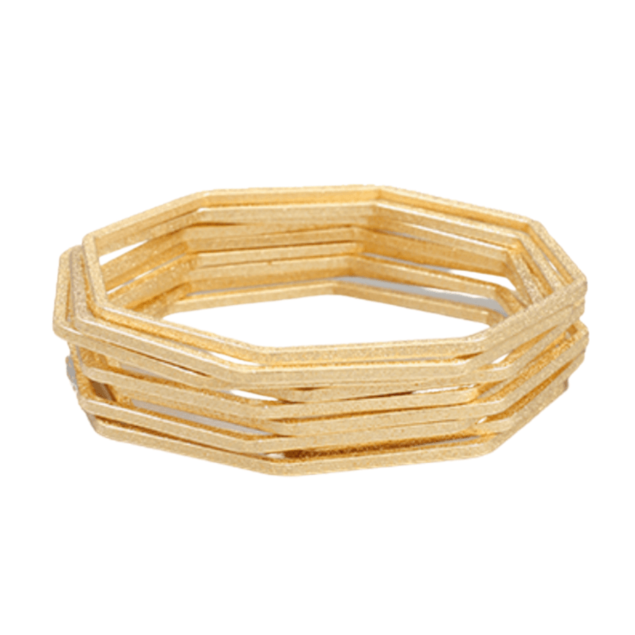 Gold Textured Hexagon Bangles