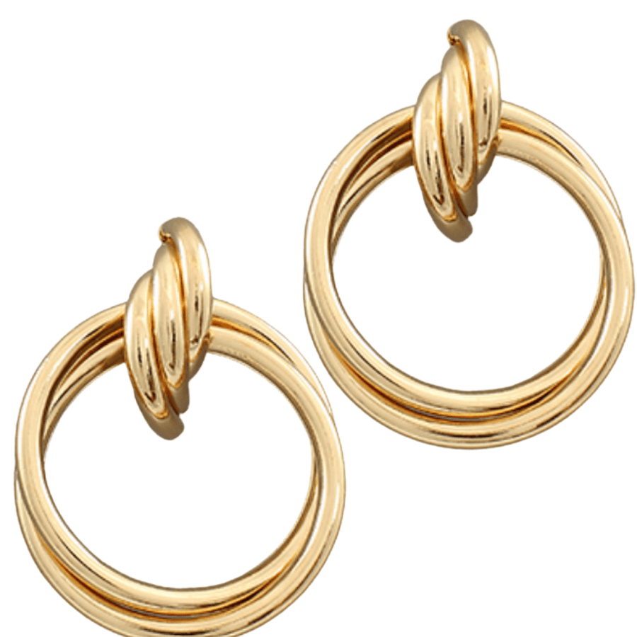 Gold Crossed Circle Twist Earrings