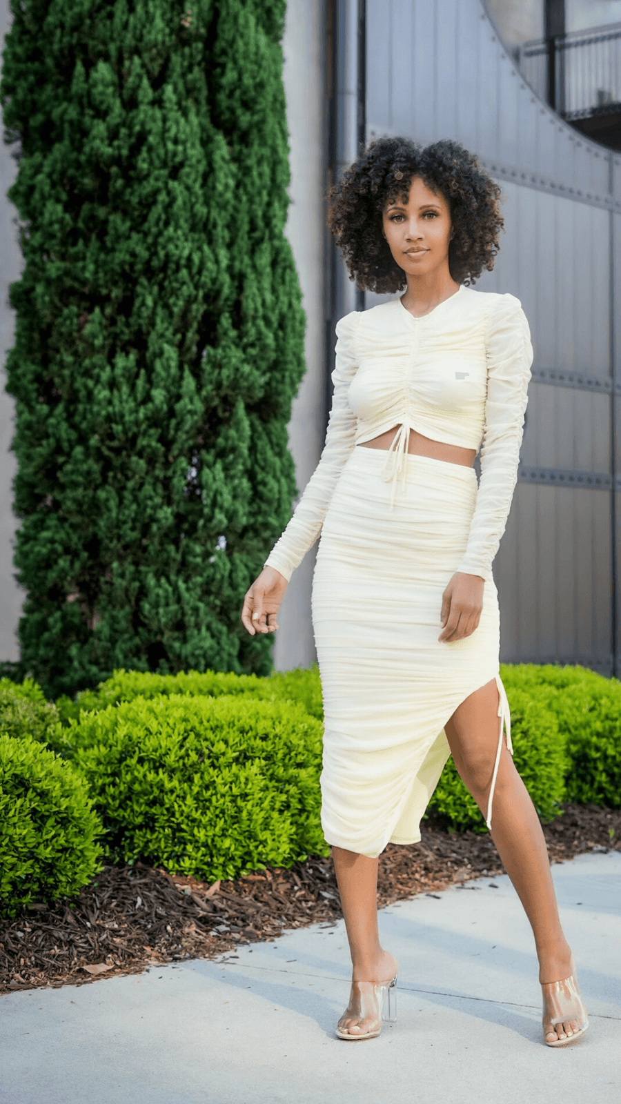 Cream Kali Midi Skirt Set
