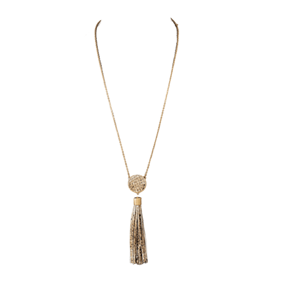 Python Leather Disc & Tassel Necklace