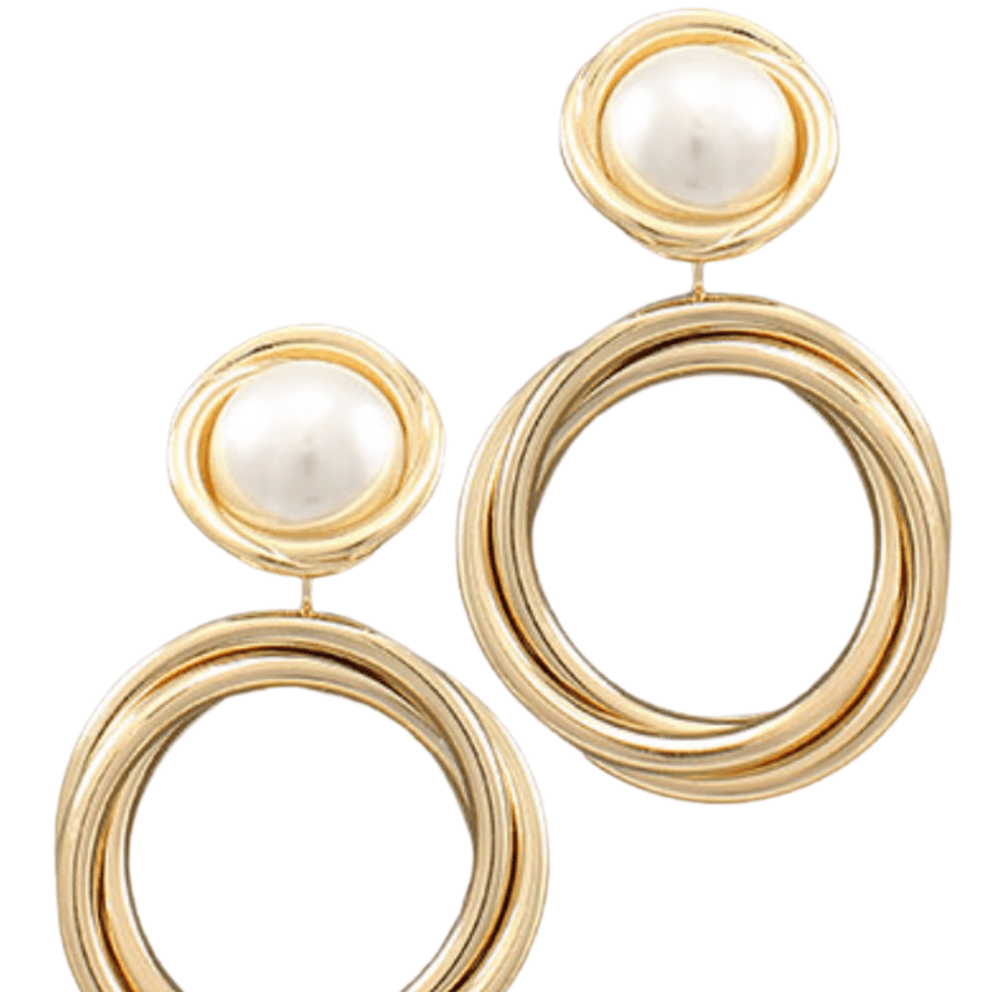 Gold Crossed Pearl Earrings