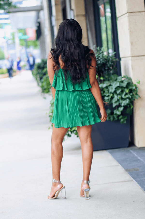 'Kate' Emerald Pleated Mini Dress