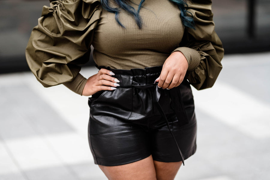 'Liv' Vegan Leather Shorts