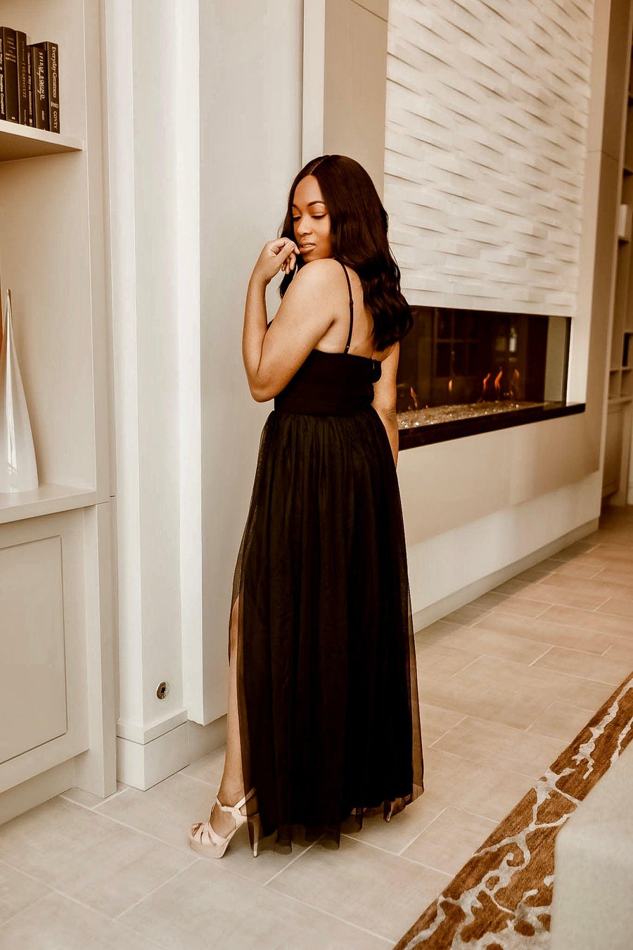 Black | Tulle Bustier Maxi Dress