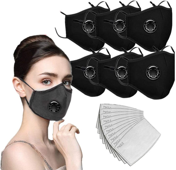 6 pc Cotton Protective Face Mask, Breathable Single Valve and (12) Filters