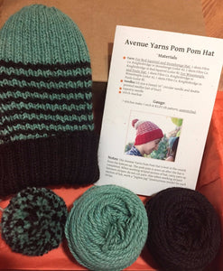 AY Pom Pom Hat Green - Avenue Yarns