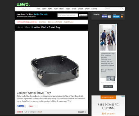 Werd.com Leather Travel Tray