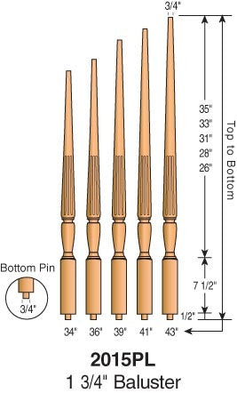 "2015F - Sheraton Fluted Pin Top Baluster - 1-3/4"" Square"