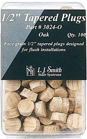 "LJ-3024 - Tapered Wood Plug - 1/2"" - 100 Pack"