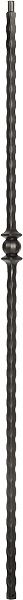 "LIH-HOL30544 — Single Ball Hammered Edge Iron Baluster (1/2"" Square Hollow)"