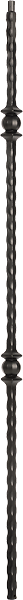 "LIH-HOL30844 — Double Ball Hammered Edge Iron Baluster (1/2"" Square Hollow)"