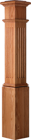 "LJ-4093 - Fluted Panel Starting Box Newel 7-1/2"" Square x 53-1/2"""