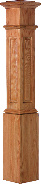 "LJ-4095 -  Raised Panel Starting Box Newel 7-1/2"" Square x 53-1/2"""