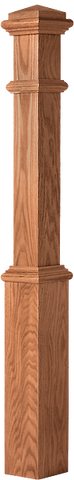 "LJ-4391 - Plain Panel Traditional Box Newel w/ Interchangeable Cap 5-1/2"" Square x 56"""