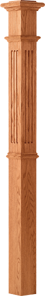 "LJ-4393 - Fluted Panel Intermediate Box Newel 4-1/4"" Square x 62"""