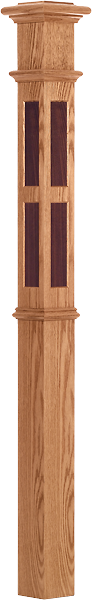 "LJ-4397 - Rectangular Inlay Intermediate Box Newel 4-1/4"" Square x 62"""