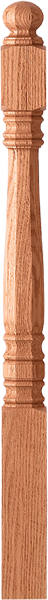 "LJ-45XXX - Hampton Octagonal Ball Top Newel - 3-1/2"" Square"